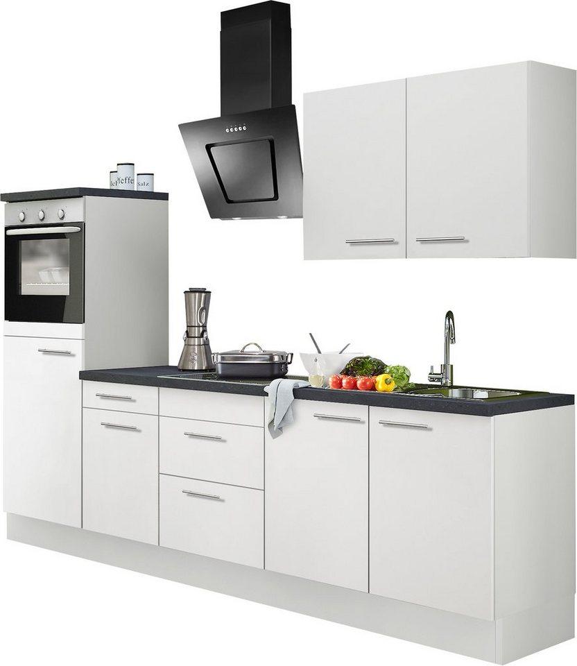 Küchenzeile mit E-Geräten, Optifit, »Mats«, Breite 270 cm in weiß-weiß