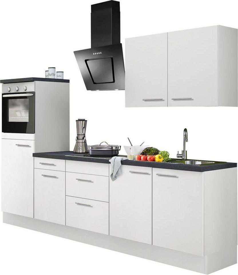 Küchenzeile ohne E-Geräte, Optifit, »Mats«, Breite 270 cm in weiß-weiß