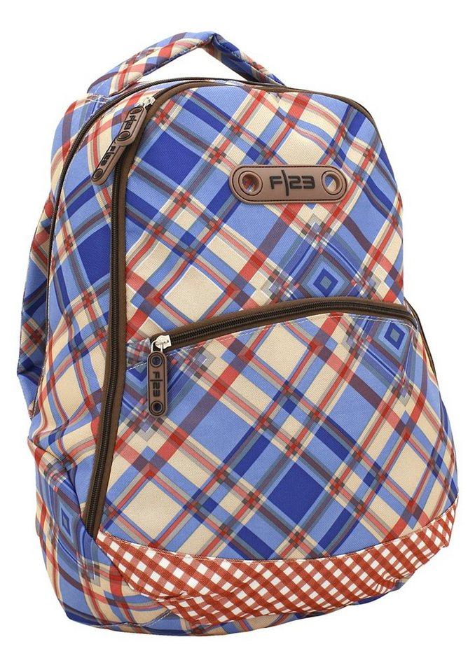 Rucksack mit Laptopfach, »Andiamo - Karo Design«, F23™ in blau-rot