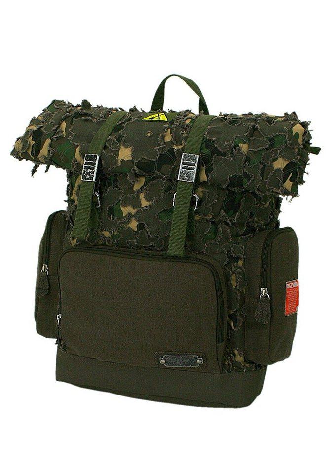 Rucksack im Vintagelook, »Parapatch«, F23™ in dunkelgrün