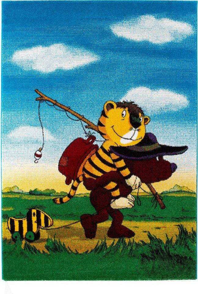 Kinder-Teppich, Janosch, »Tigers Reise«, handgearbeitet in multi