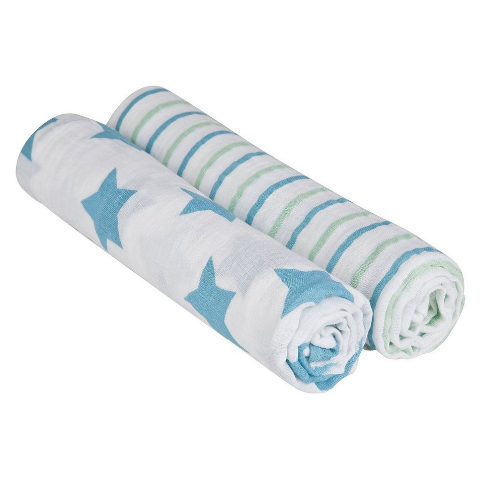 LÄSSIG Swaddle & Burp Blanket XL Stars&Stripes boy 120x120cm in blau