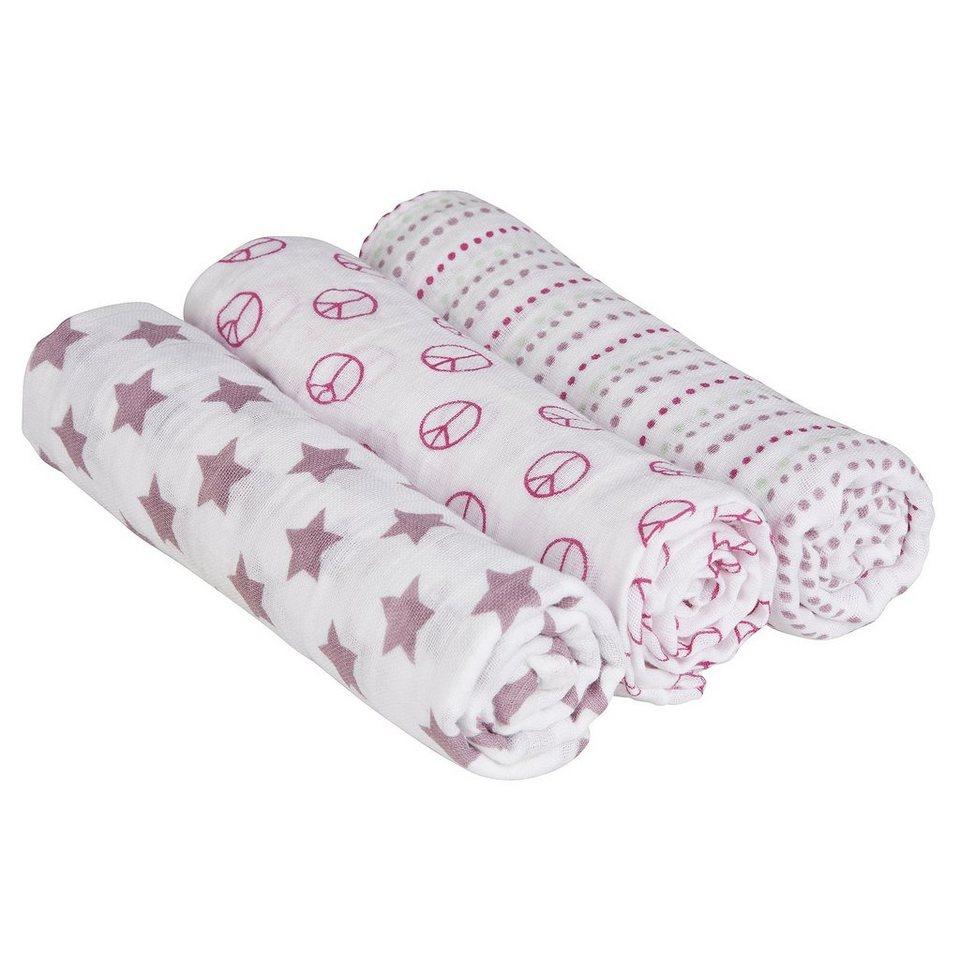 LÄSSIG Swaddle & Burp Blanket L Sweet Dreams girls 85x85cm in lila