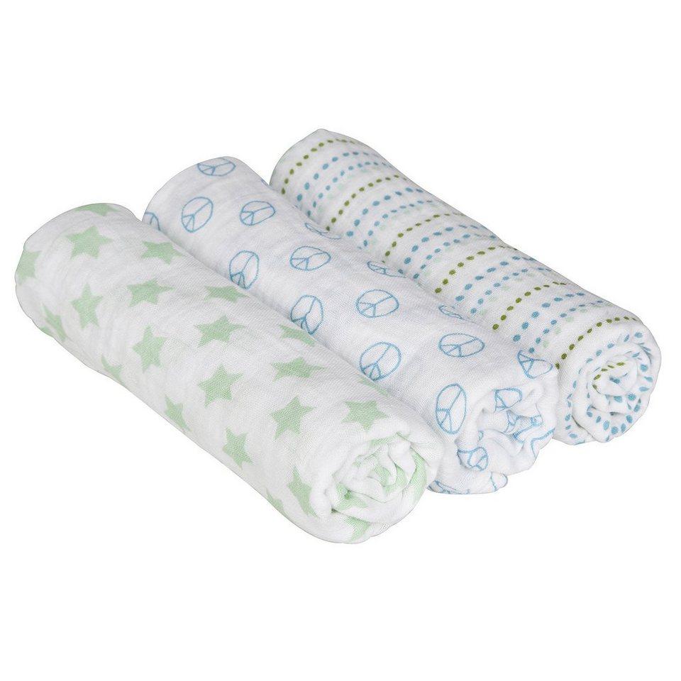 LÄSSIG Swaddle & Burp Blanket L Sweet Dreams boys 85x85cm in weiß