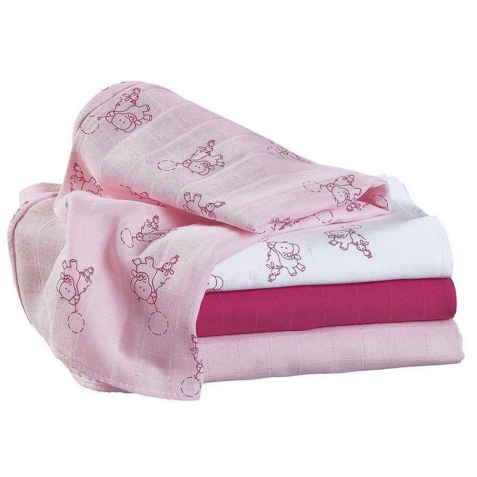 BORNINO Mullwindeln im 4er-Pack 80x80cm in weiß/rosa/pink