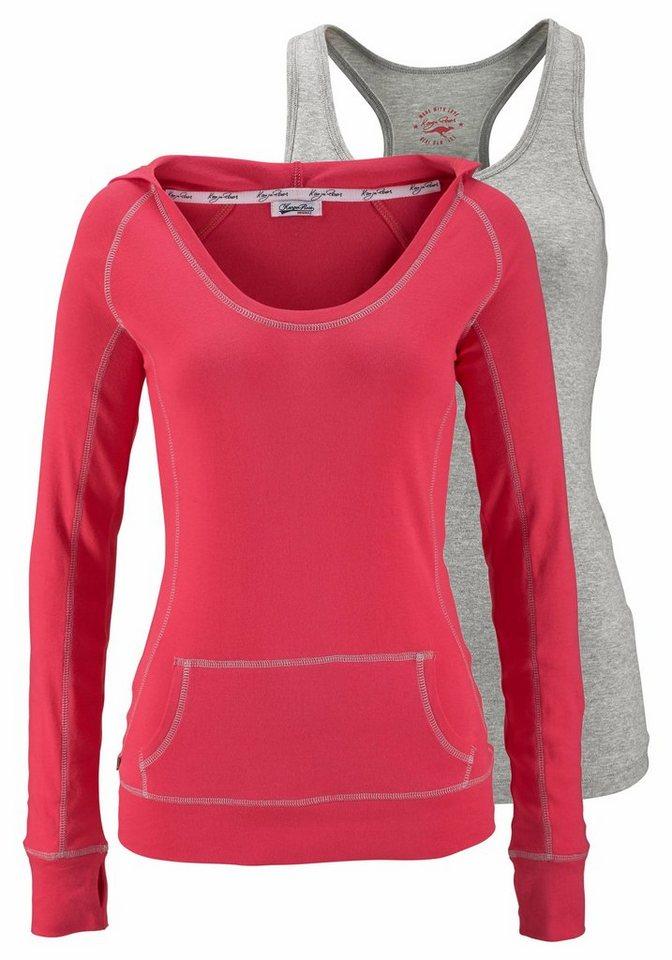 KangaROOS 2-in-1-Shirt mit Kapuze (Set, 2 tlg., mit Top) in pink-grau-meliert