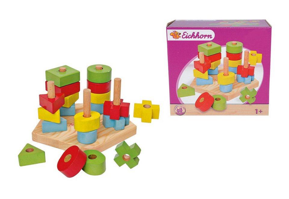 Steckspielzeug mit 5 Steckstäben, Eichhorn (21-tlg.)