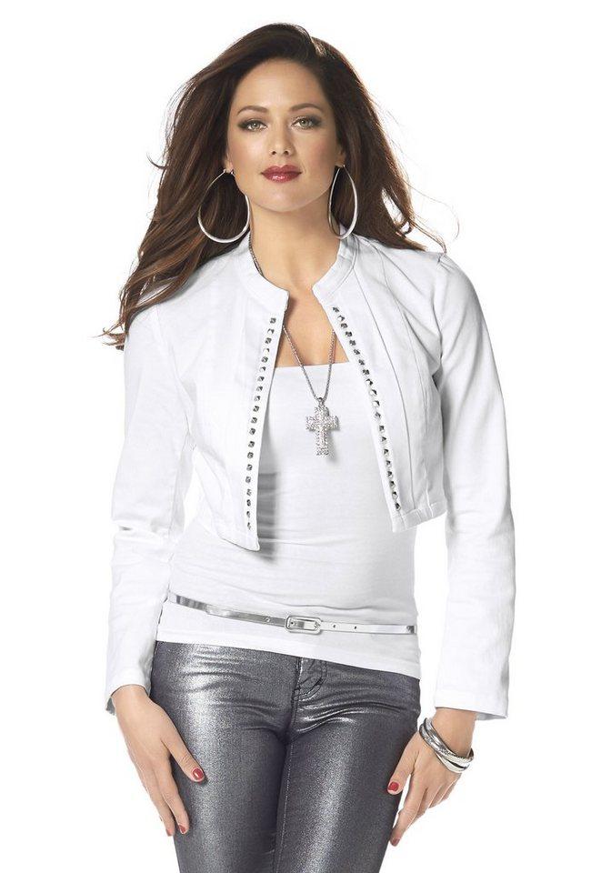 Melrose Jeansjacke mit Nieten in weiß