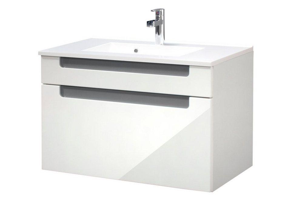 Held Möbel Waschtisch »Siena« 80 cm in anthrazit/weiß