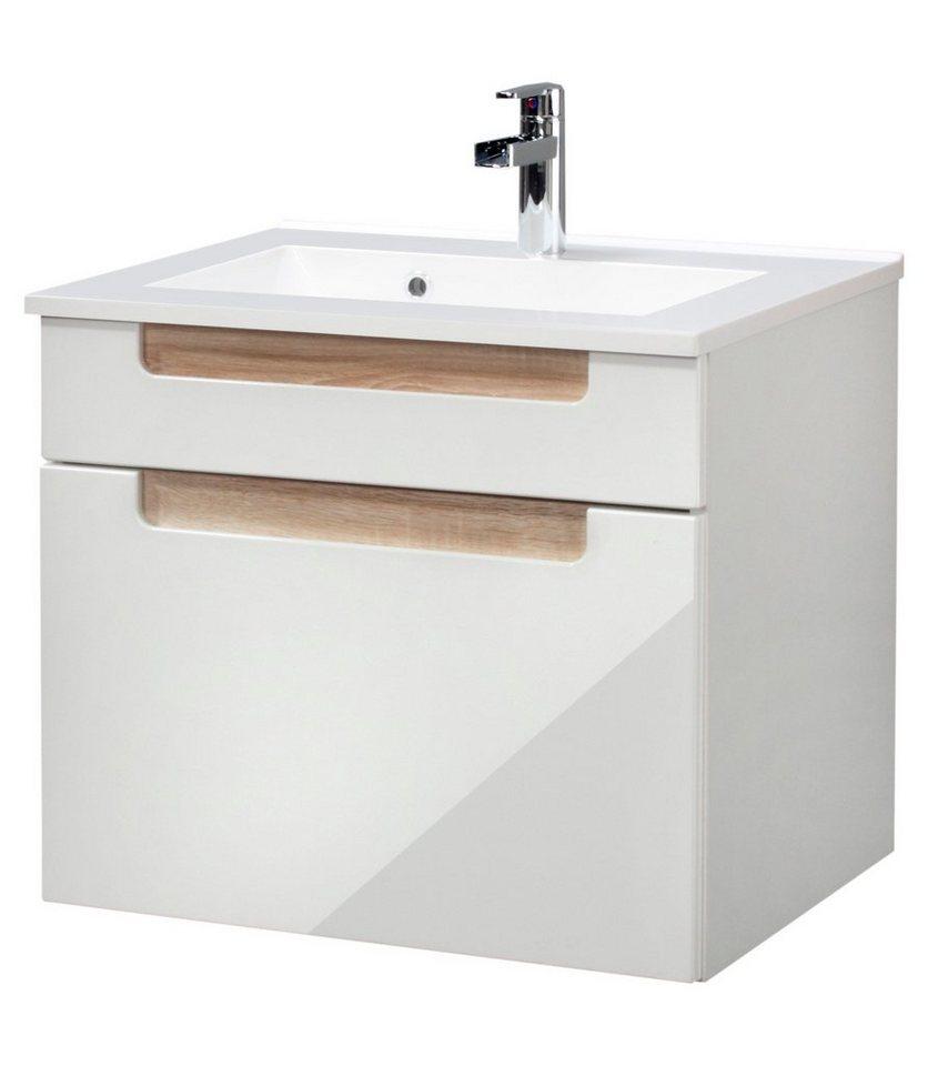 Waschtisch »Siena«, Breite 60 cm, (2-tlg.) in eichefarben/weiß x beige