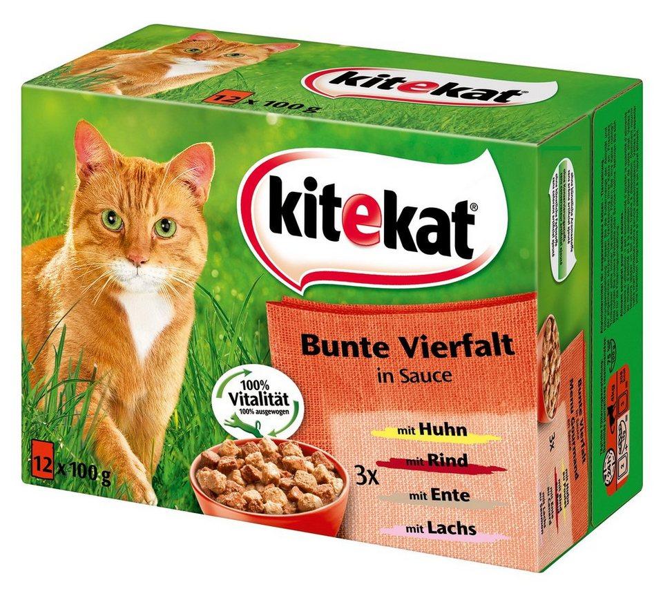 Set: Katzennassfutter »Bunte Vielfalt in Sauce«, 4 Pakete mit je 12 Beuteln á 100 g in braun