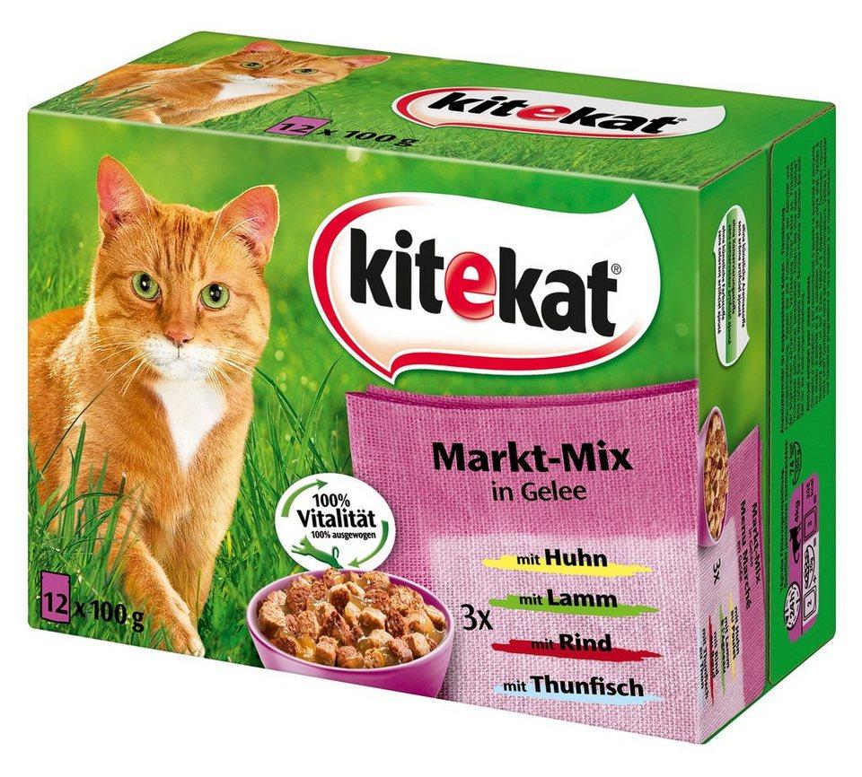 Set: Katzennassfutter »Markt-Mix in Gelee«, 4 Pakete mit je 12 Beuteln á 100 g in braun