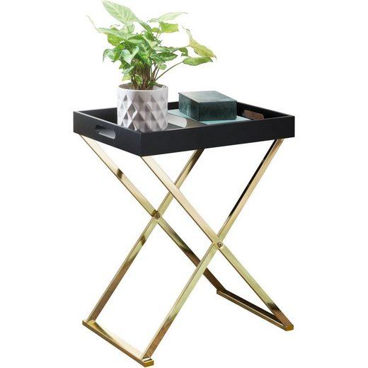 FINEBUY Beistelltisch »FB49697«, Beistelltisch NANI TV-Tray klappbar 46 x 61 x 32 cm schwarz / Gold Design Wohnzimmertisch mit Serviertablett Kaffeetisch modern Tabletttisch Holz Ablagetisch mit Metallgestell