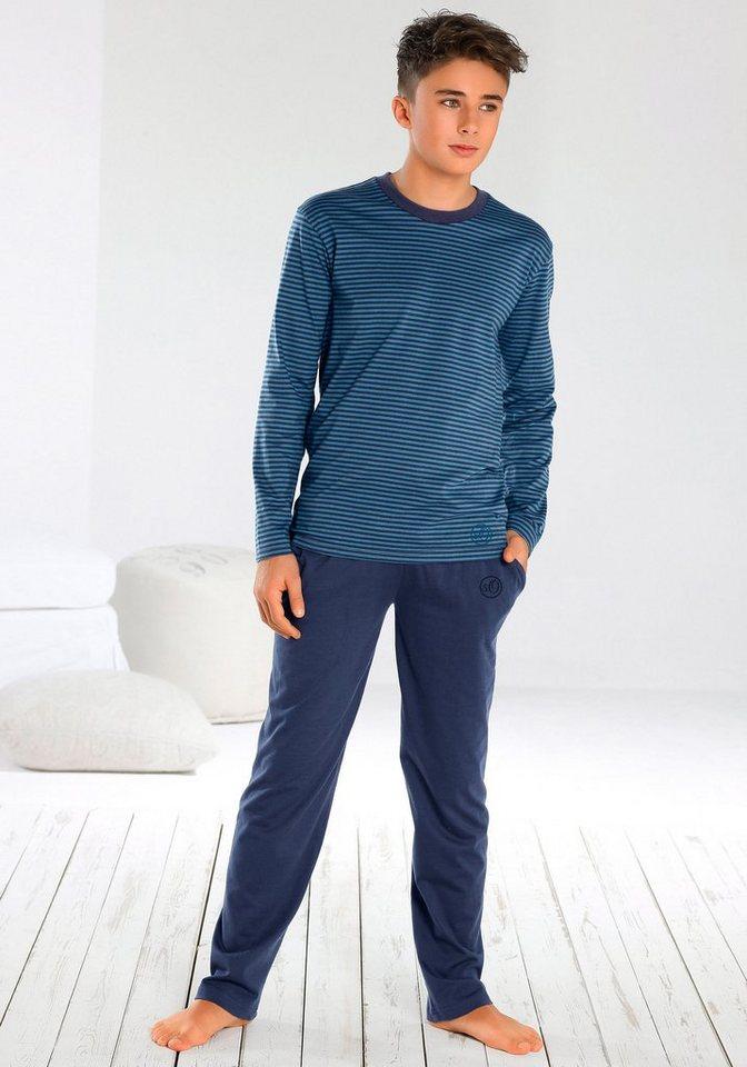 s.Oliver RED LABEL Bodywear Pyjama, lang, cooler Streifenlook, Hose mit Taschen in blau-marine