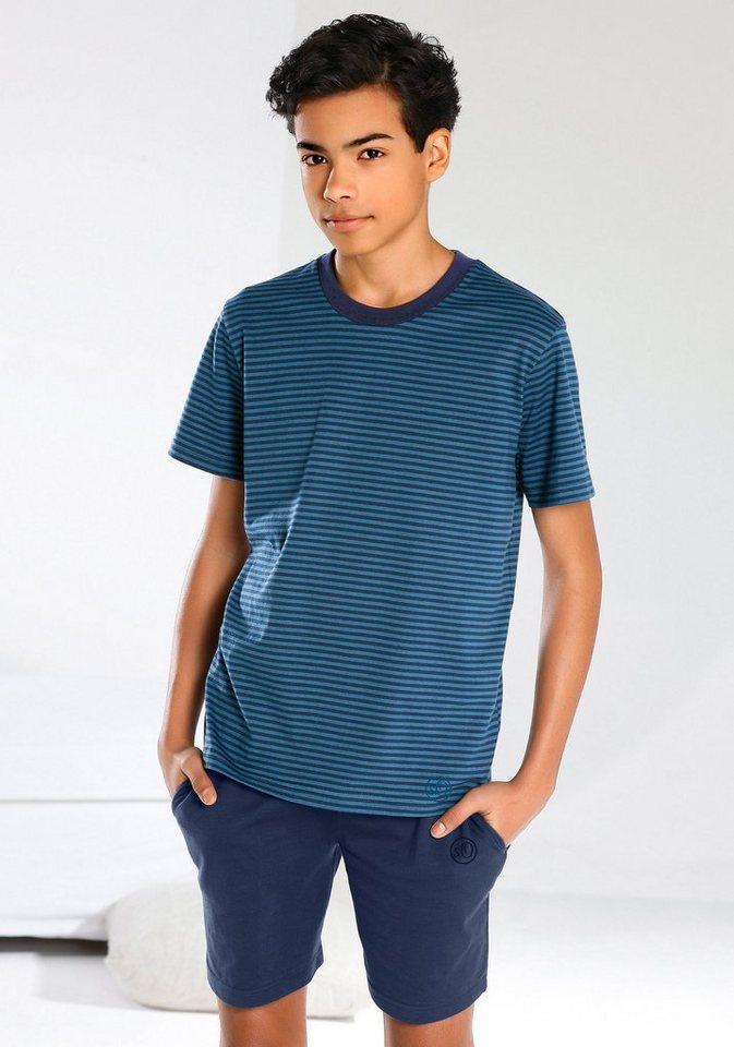 s.Oliver RED LABEL Bodywear Pyjama, kurz, cooler Streifenlook, Hose mit Taschen in blau-marine