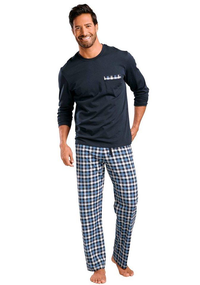 Schiesser Pyjama lang in 1x marine-blau kariert