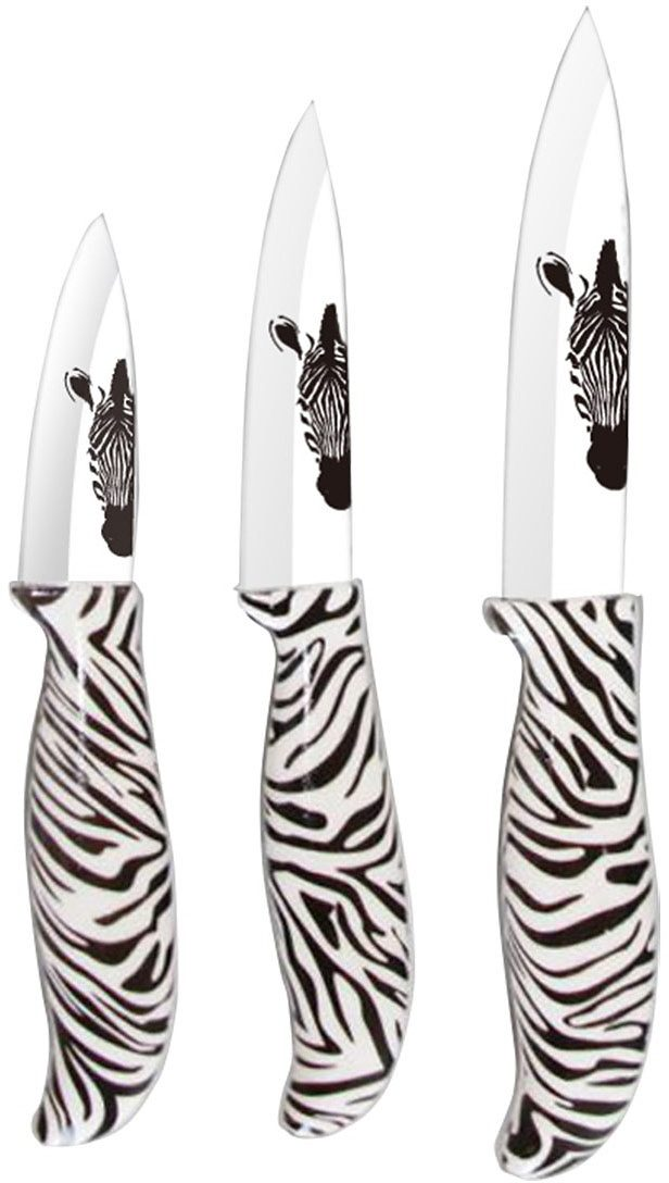 BELLA CUCINA Keramikmesser-Set, 3-teilig, Zebra-Design