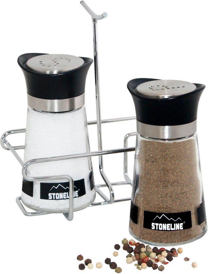 STONELINE® Salz- und Pfefferstreuer-Set in silberfarben