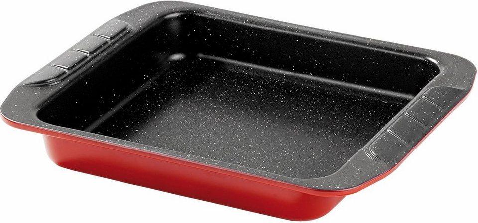 STONE® Kuchenbackform in außen rot/innen schwarz