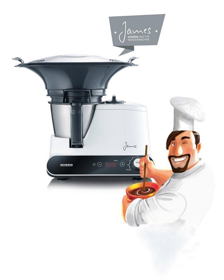 """Severin Multi-Küchenmaschine mit Kochfunktion """"James"""" KM 3895, 1,5 Liter, 1050 Watt in weiß-schwarz"""