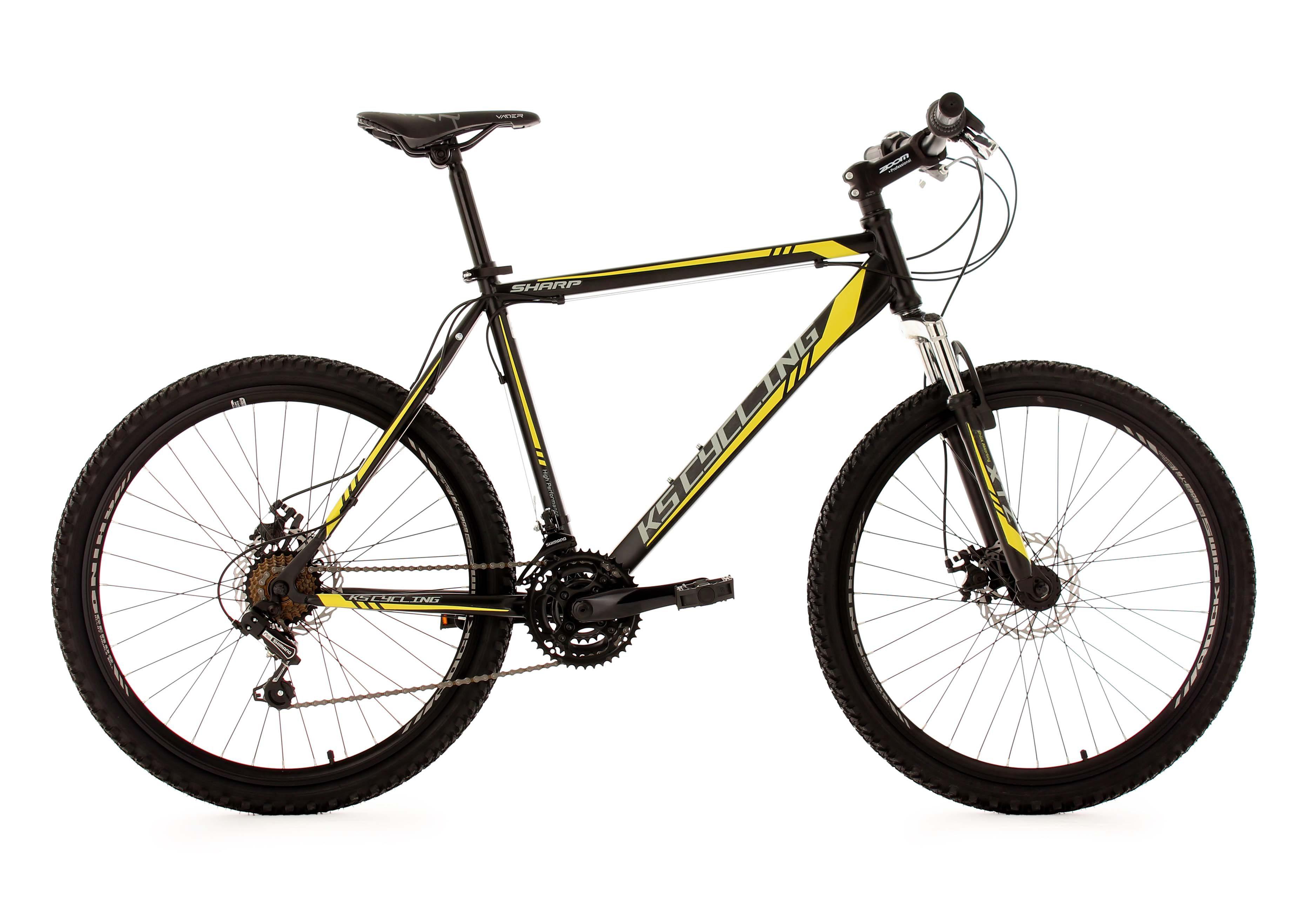 Hardtail-Mountainbike, 26 Zoll, schwarz-gelb, 21-Gang-Kettenschaltung, »Sharp«, KS Cycling
