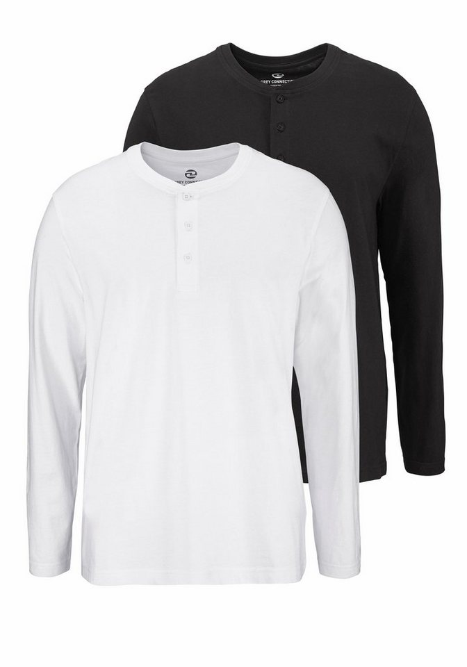 Man's World Langarmshirt (Packung, 2 tlg.) in weiß+schwarz