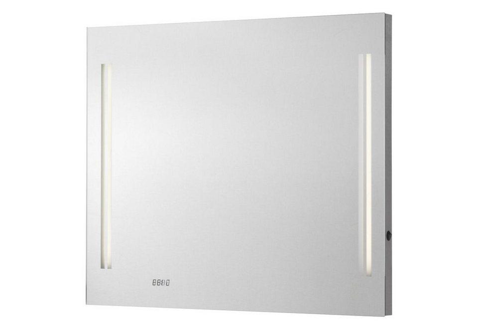 Fackelmann Spiegel / Badspiegel »Lugano« Breite 80 cm, mit Beleuchtung in silber