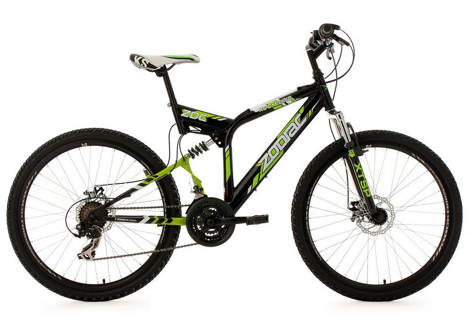 Fully-Mountainbike, 26 Zoll, schwarz-grün, 21-Gang-Kettenschaltung, »Zodiac«, KS Cycling in schwarz