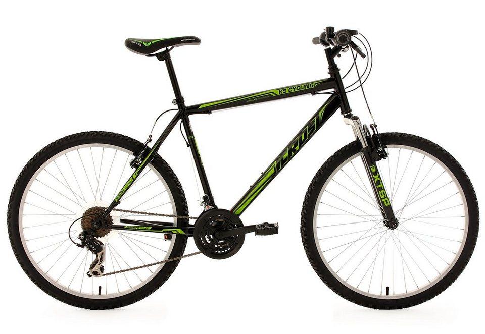 Hardtail-Mountainbike, 26 Zoll, schwarz-grün, 21-Gang-Kettenschaltung, »Icros«, KS Cycling in schwarz