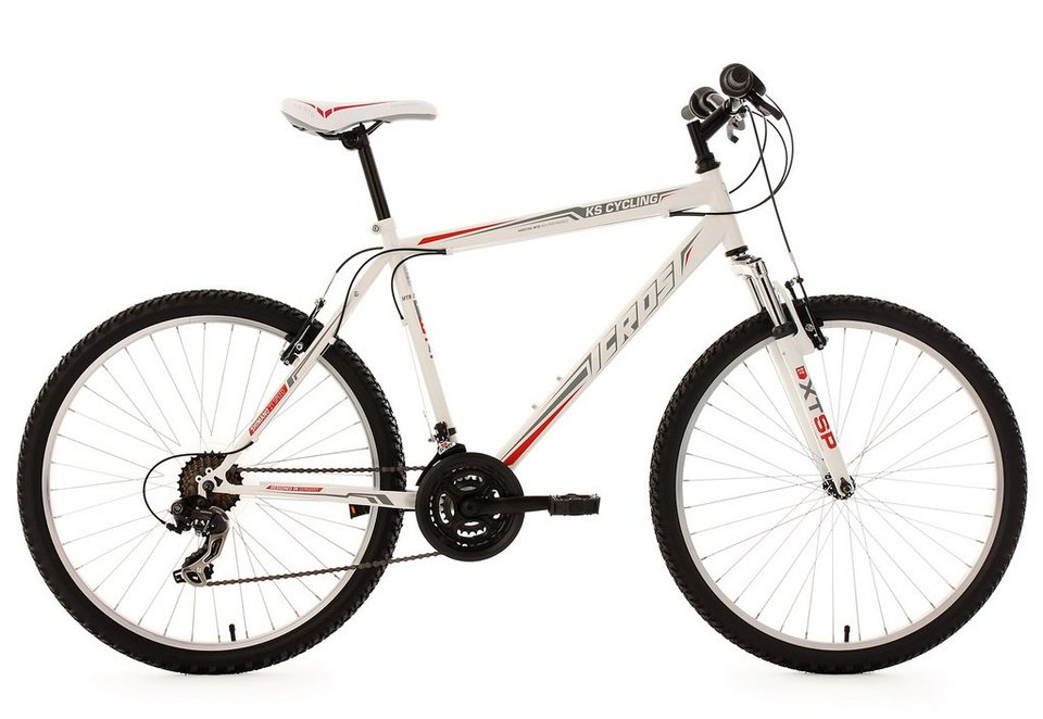 hardtail mountainbike 26 zoll wei rot 21 gang. Black Bedroom Furniture Sets. Home Design Ideas