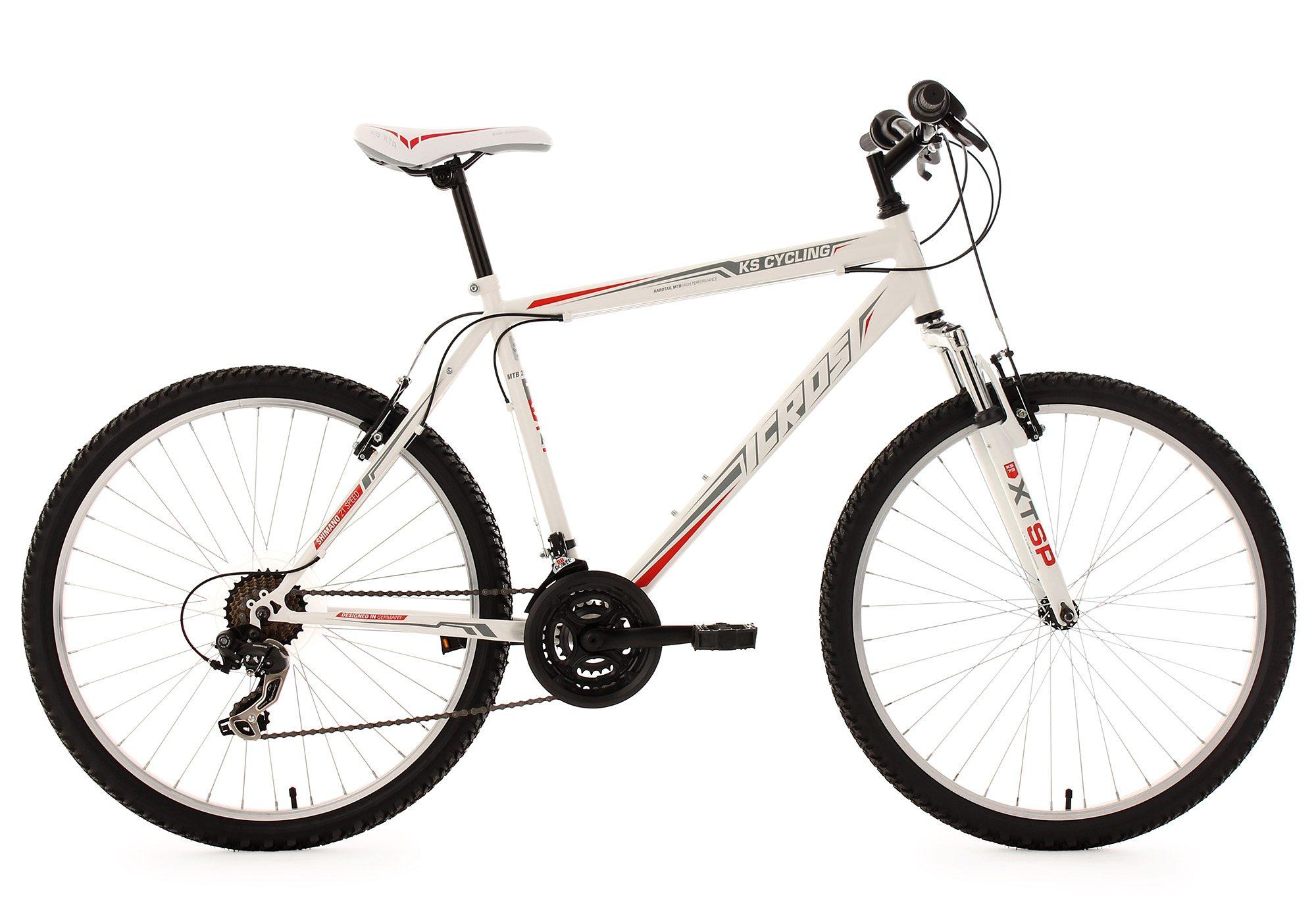 Hardtail-Mountainbike, 26 Zoll, weiß-rot, 21-Gang-Kettenschaltung, »Icros«, KS Cycling