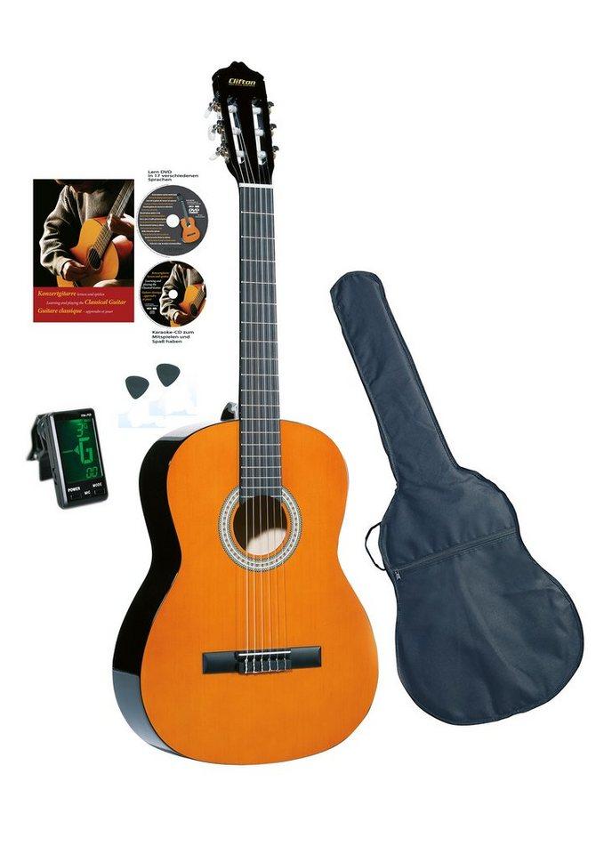 set gitarre zubeh r clifton konzertgitarre 4 4. Black Bedroom Furniture Sets. Home Design Ideas