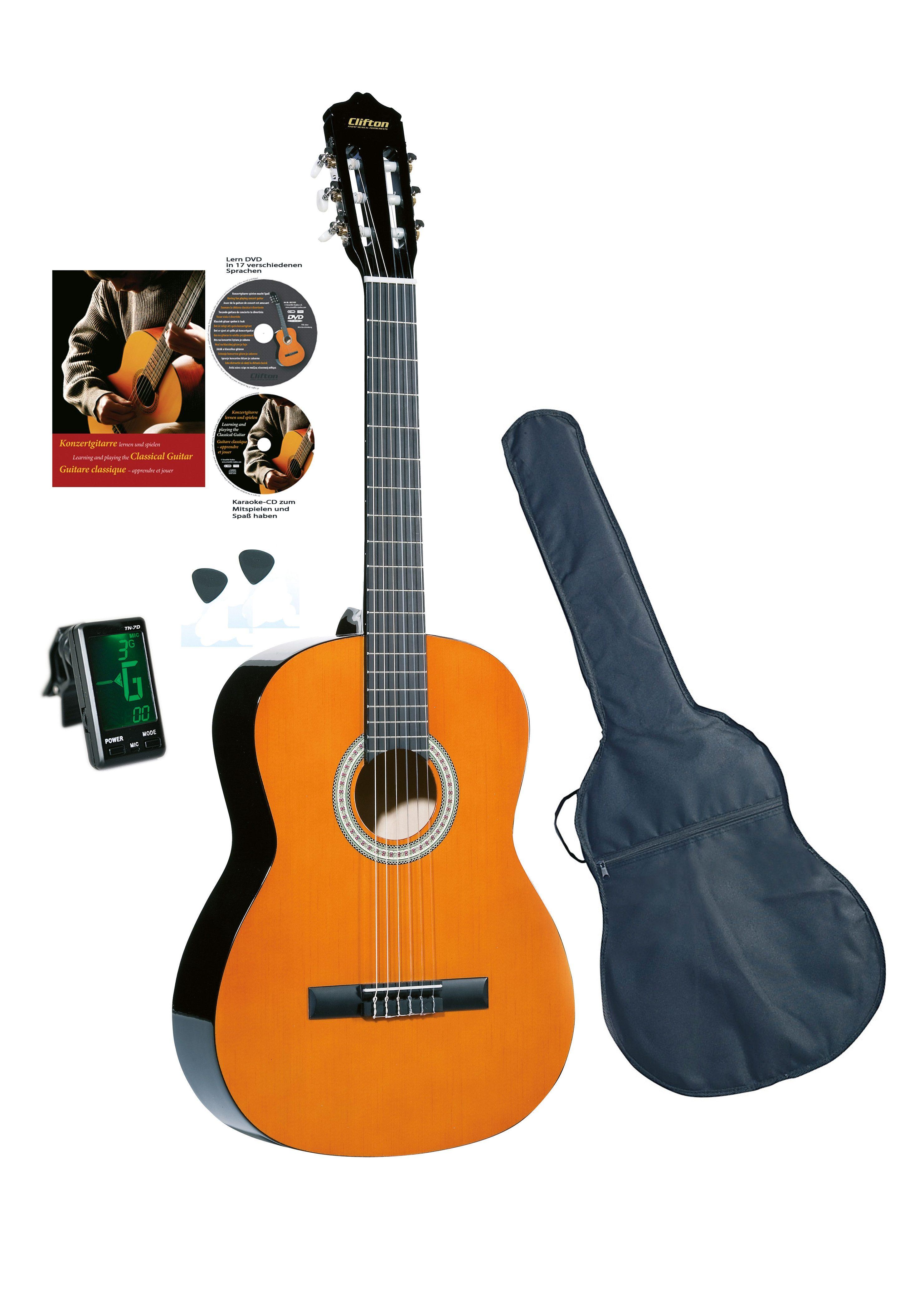 Set: Gitarre für Kinder + Zubehör, »Clifton - Konzertgitarre ½«