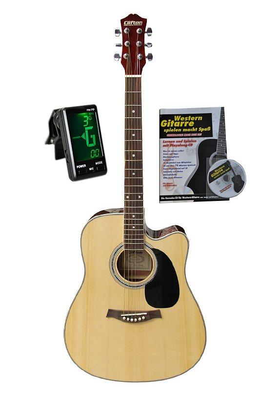 Set: Gitarre mit Stahlsaiten + Zubehör, »Clifton-Westerngitarre 41 Zoll« in natur