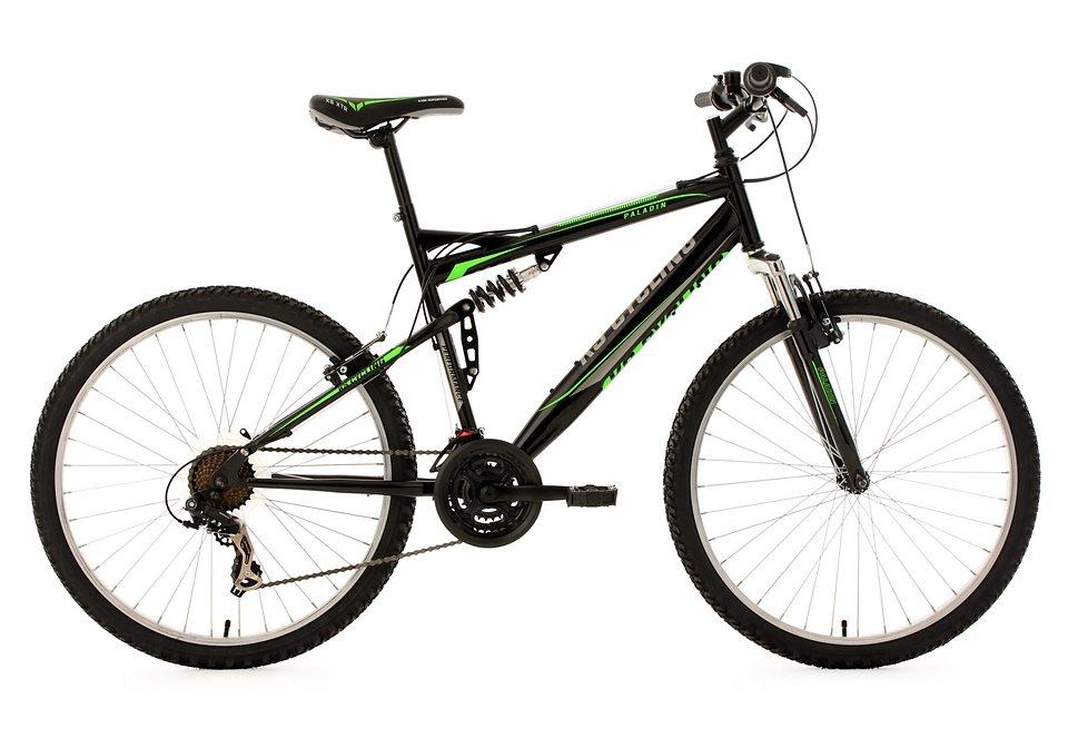 Fully-Mountainbike, 26 Zoll, schwarz-grün, 21-Gang-Kettenschaltung, »Paladin«, KS Cycling in schwarz