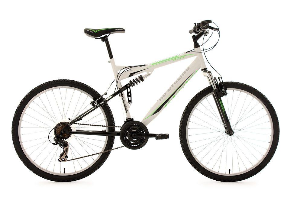 Fully-Mountainbike, 26 Zoll, weiß-grün, 21-Gang-Kettenschaltung, »Paladin«, KS Cycling