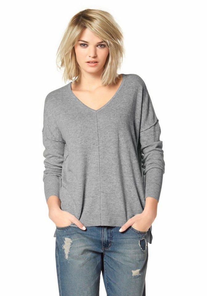 Laura Scott V-Ausschnitt-Pullover oversized in grau-meliert
