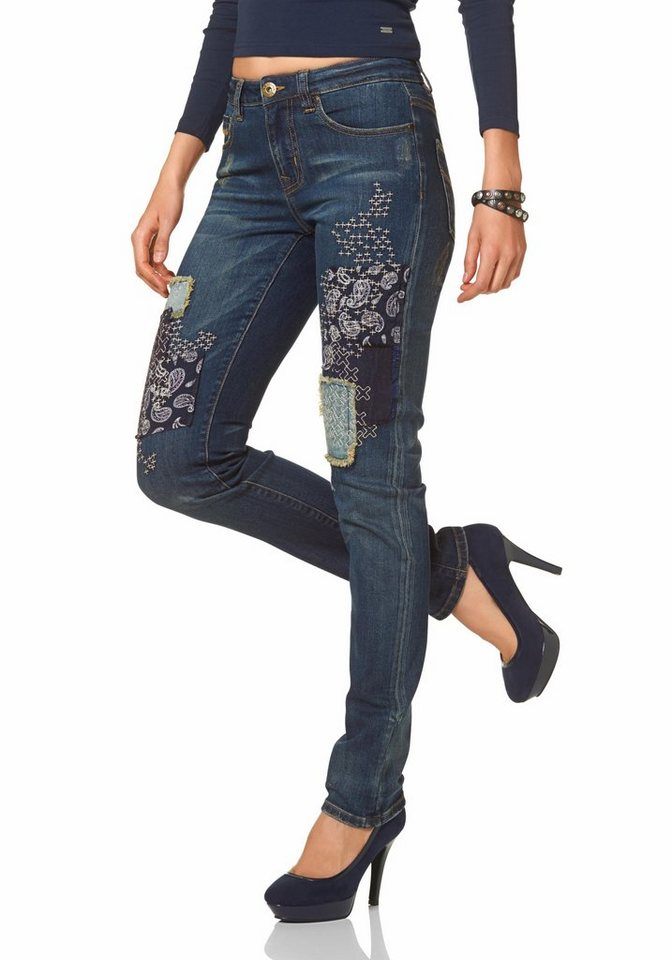 Arizona Gerade Jeans »Destroyed & Patch Effects« Mid Waist in dirty-used