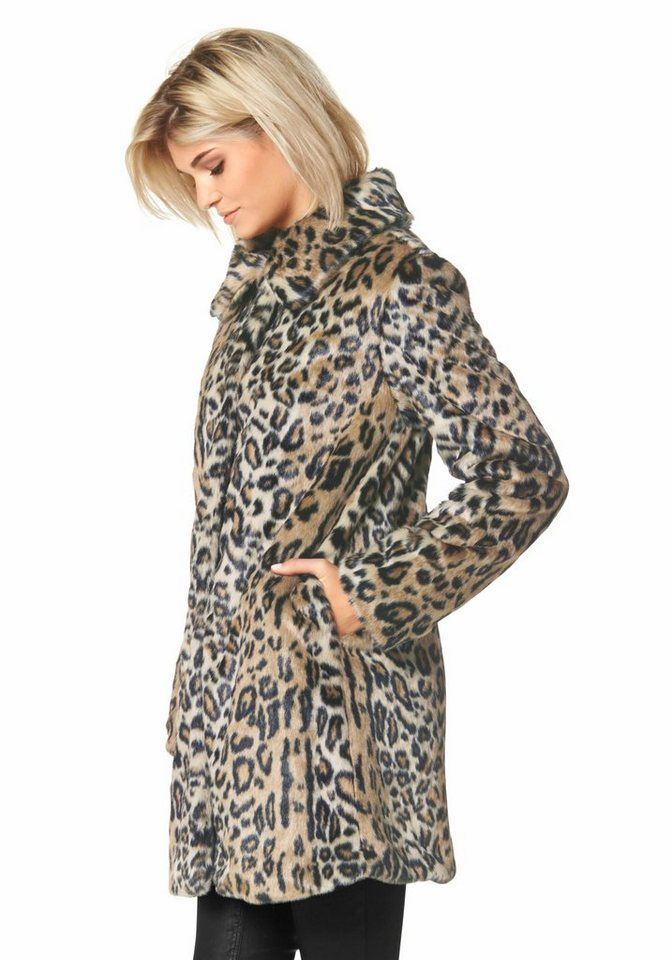 Laura Scott Fellimitatjacke mit Leo-Print in beige