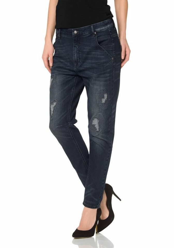 Laura Scott Boyfriend-Jeans mit Destroyed-Effekten in darkblue-used