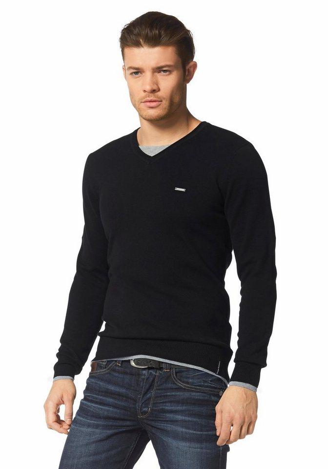 Bruno Banani V-Ausschnitt-Pullover in schwarz