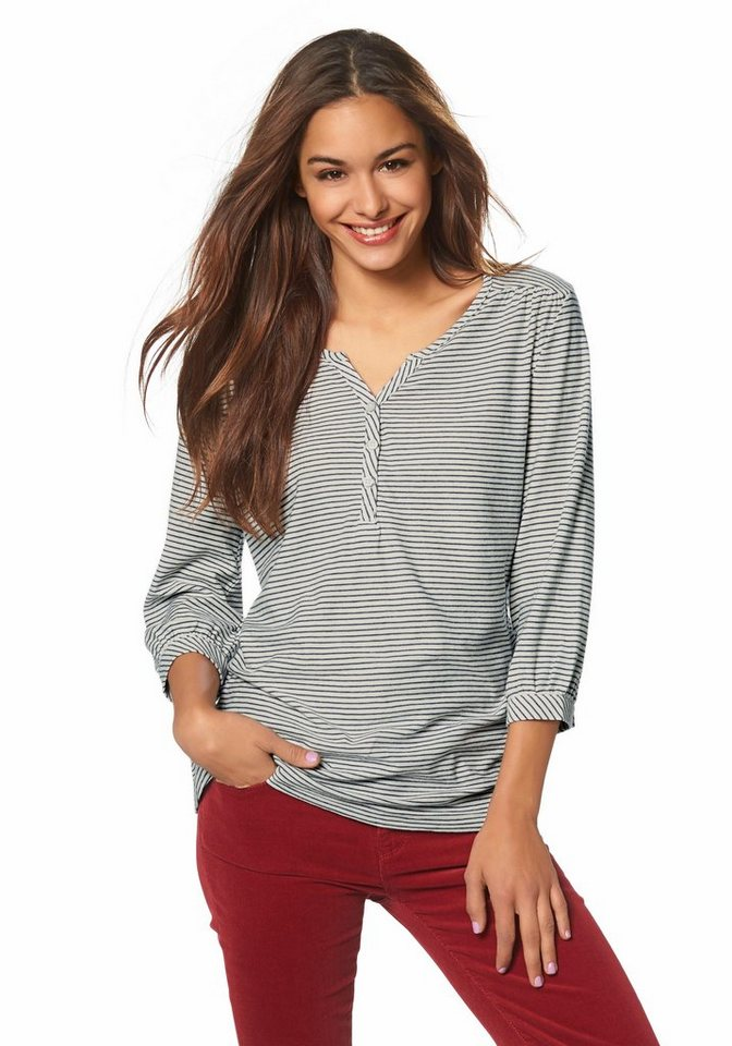Wrangler 3/4-Arm-Shirt in beige-blau
