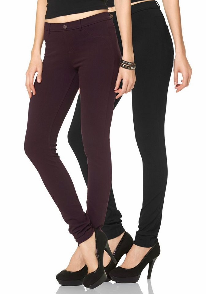 Arizona Treggings »Bequemer Gummizugbund« (Packung, 2er-Pack) in bordeaux+schwarz