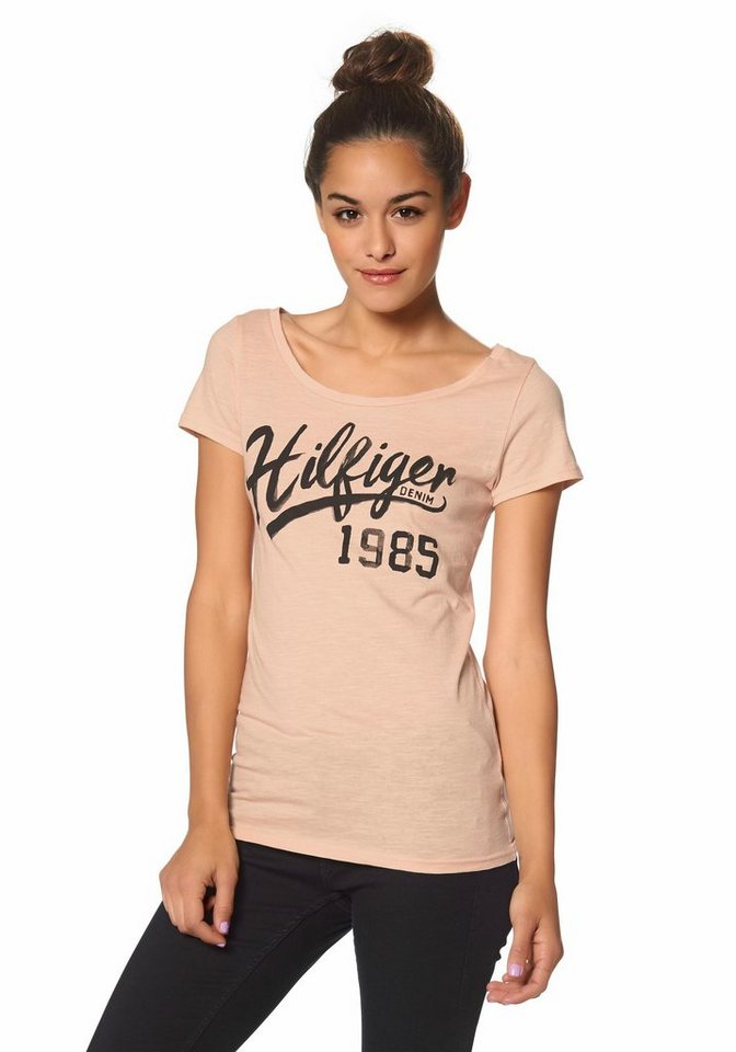 Hilfiger Denim T-Shirt »Lala« Logo-Print vorne in apricot