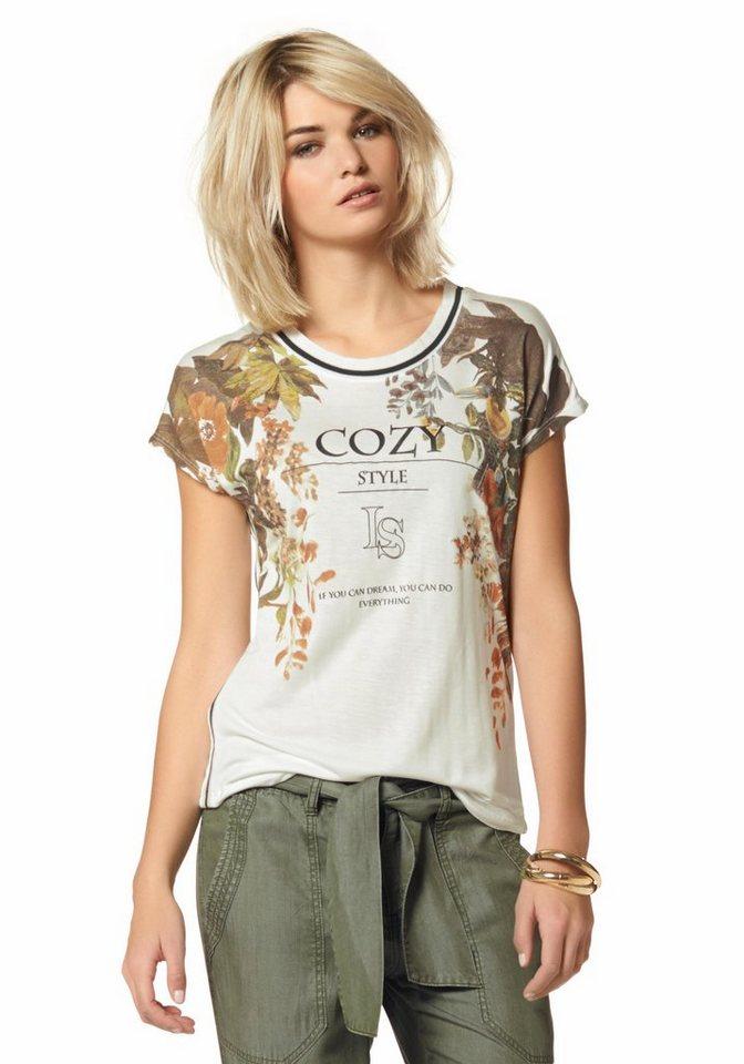 Laura Scott Rundhalsshirt mit Tropical-Print in wollweiß-bedruckt