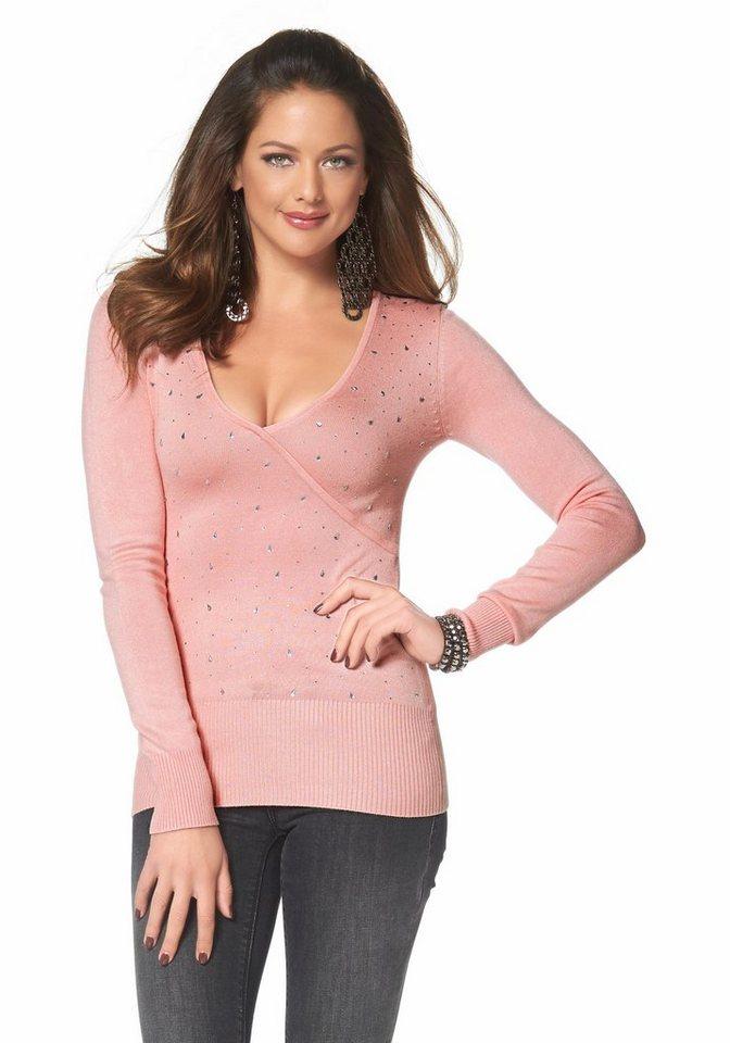 Melrose V-Ausschnitt-Pullover in Wickeloptik mit Strass in rosé