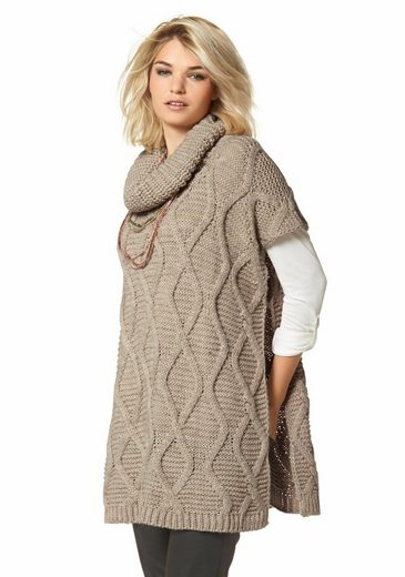 Laura Scott Knit Poncho, With Loosely Falling Turtleneck