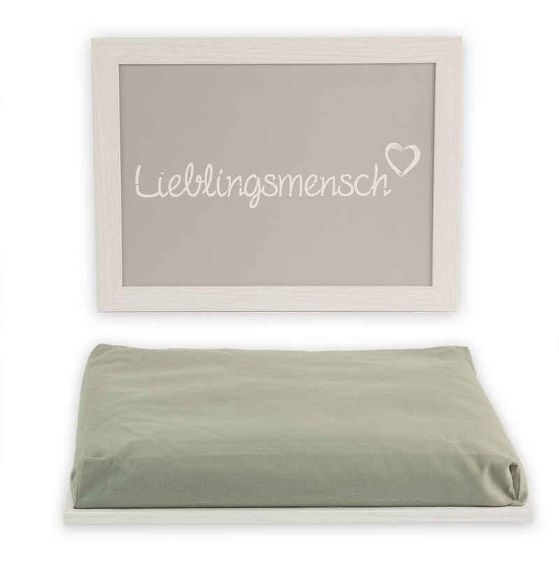Out of the Blue Tablett »Knie−Tablett Lieblingsmensch ca. 43 x 32,5 cm mit Kissen − Für Laptop, Essen & Tablet − Deko−Kissen«, Baumwolle
