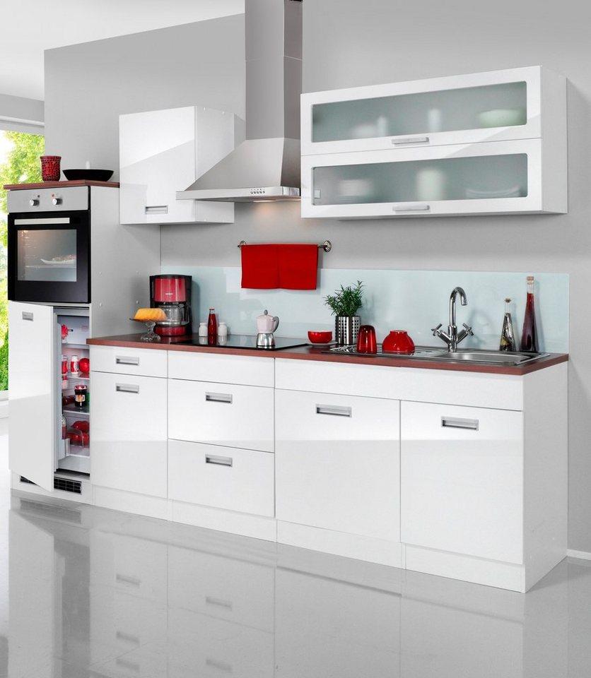 Küchenzeile »Fulda«, mit autarken Elektrogeräten, Breite 270 cm in weiß