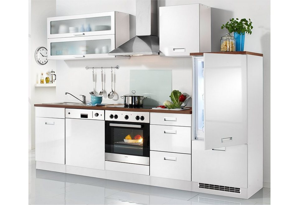 Held Möbel Küchenzeile »Fulda«, inkl. Elektrogeräte, Breite 280 cm in weiß